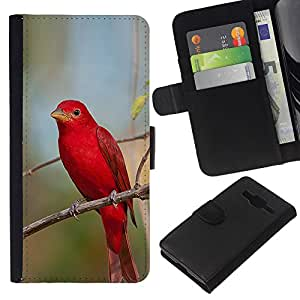 KingStore / Leather Etui en cuir / Samsung Galaxy Core Prime / Direction Nature Songbird