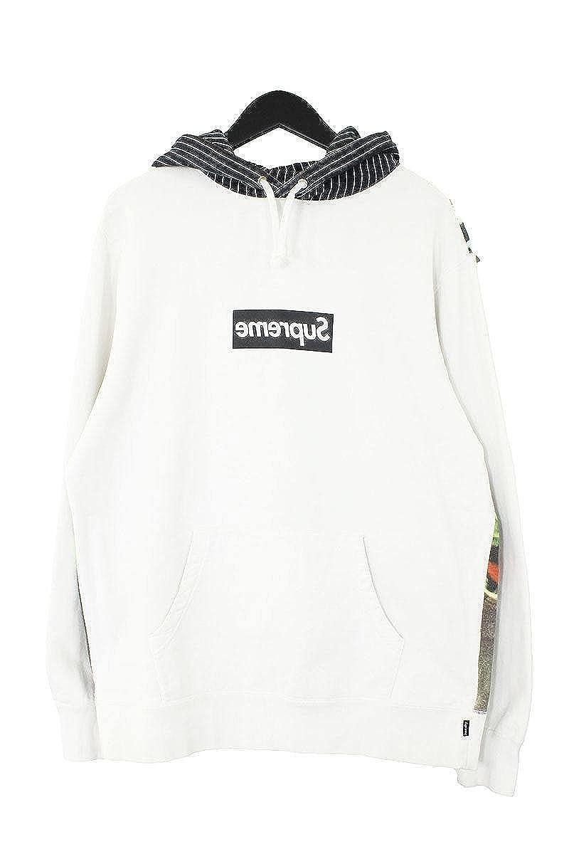 (シュプリーム)SUPREME ×コムデギャルソンシャツ 【14SS】【Box Logo Pullover Hoodie】ミラーボックスロゴスケータープルオーバーパーカー(L/ブラック×ホワイト) 中古 B078K33R63