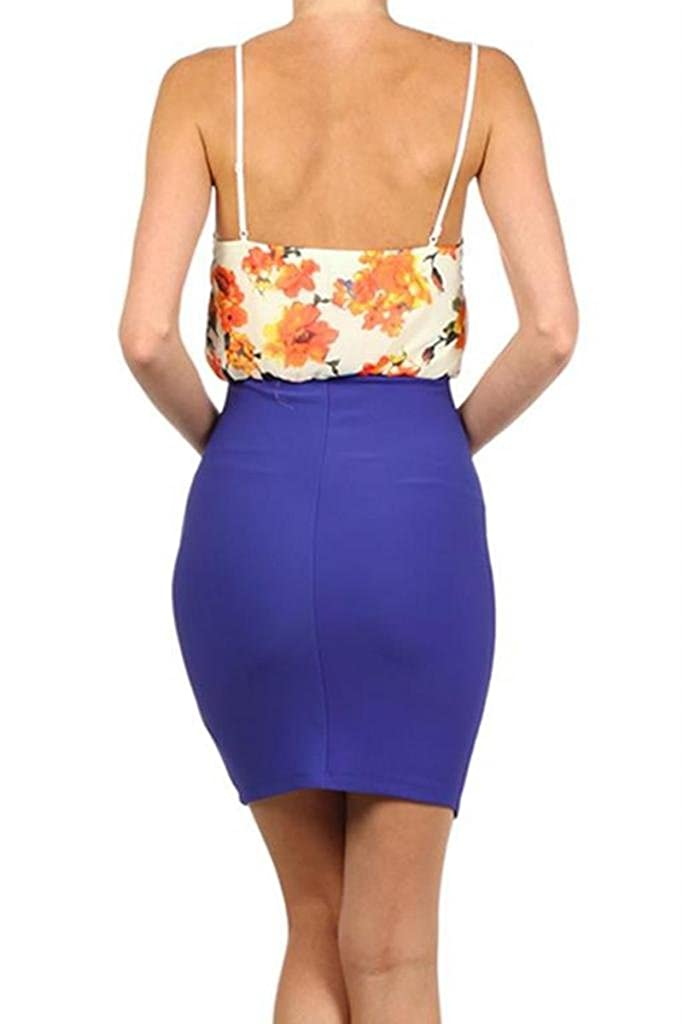 SurelyMine Womens Duo Fabric Solid and Floral Print Vneck Sleeveless Mini Dress