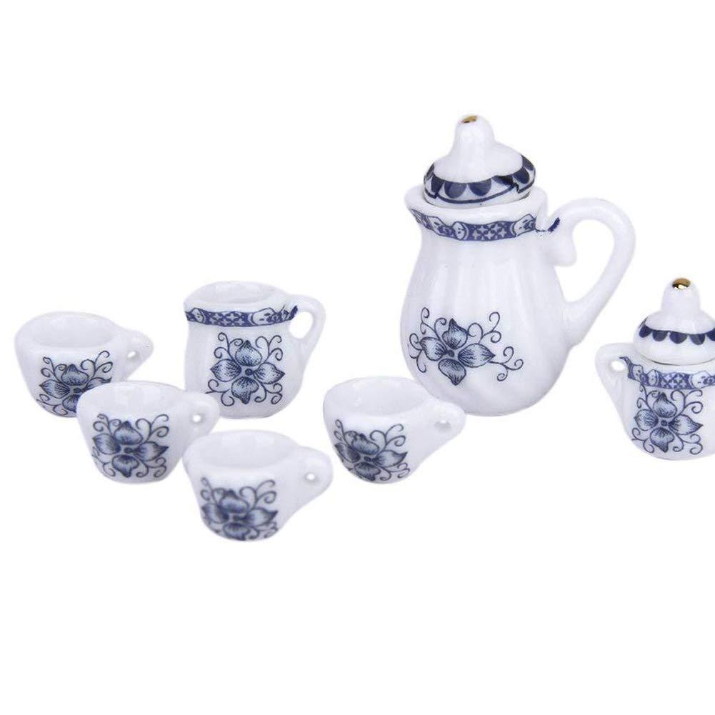 Wudi 15 Pcs Mini Teaservice Toy Dollhouse Dinette Teapot Tasses Bleu et Blanc en Porcelaine Plaques