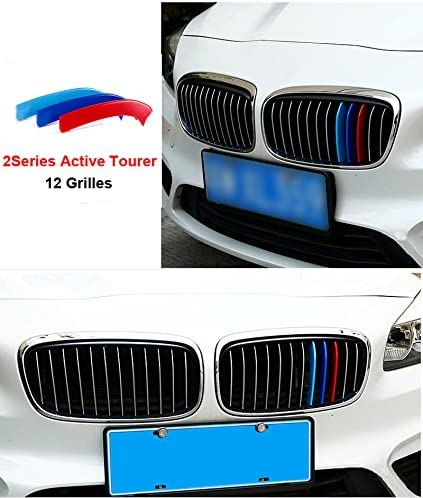 8X-SPEED for BMW 2 Series Active Tourer 218i 220i 12 Grilles 3D Car Styling M Front Grille 3 Colors Insert Trim Motorsport Grill Stripes Cover M Performance Sticker for BMW M Accessories