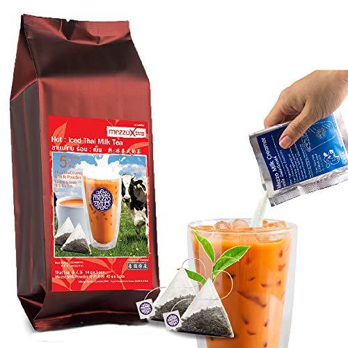 MezzoX Healthy Thai Tea Leaves + Milk Powder, NO Hassle NO TRANS FAT / Condensed Milk !! Super Easy DIY Set 9.5oz x 5 Servings: Authentic Taste, Premium Quality, No - Tea Condensed Milk
