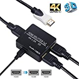 HDMI Splitter 1 in 2 out,avedio links 4K HDMI Splitter 1x2 With High Speed HDMI Cable,USB Cord For Xbox PS4/3, Roku, Cable box, Blu-Ray player, Projector, Fire TV stick-Run Dual Monitors