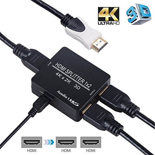 HDMI Splitter 1 in 2 out,avedio links 4K HDMI Splitter 1x2 With High Speed HDMI Cable,USB Cord For Xbox PS4/3, Roku, Cable box, Blu-Ray player, Projector, Fire TV stick-Run Dual Monitors by avedio links