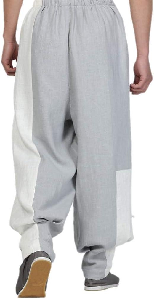 DGXIN Baina Trousers Zen Loose Casual Monk Pants Men Grey ecbeH