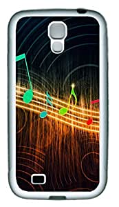 Colorful Musical Note Theme Case for Samsung Galaxy S4 i9500 Rubber Material White
