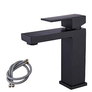 KES cUPC NSF Certified Lead-Free Stainless Steel Bathroom Sink Faucet Single Handle Lavatory Single Hole Vanity Sink Faucet Matt Black, L3120ALF-BK