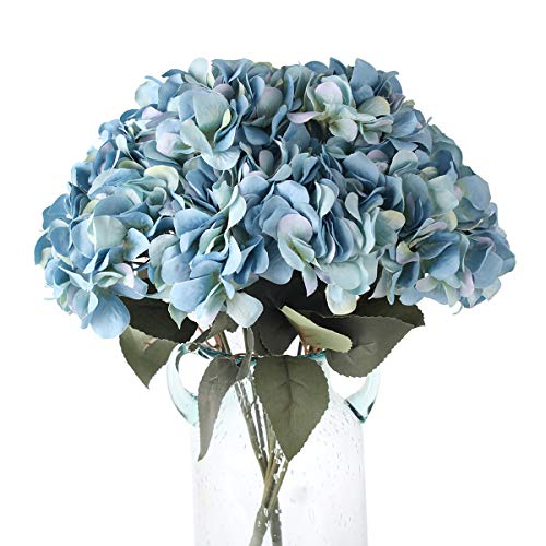 - Blooming Paradise 5Heads Artificial Fake Flower Plants Silk Hydrangea Arrangements Wedding Bouquets Decoration Plastic Home Kitchen Garden Party Table Floral centerpieces DIY(Dark Blue)