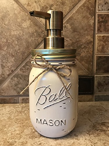 Lotion Gray - Soap Dispenser Mason Canning JAR Hand PAINTED & Distressed Ball Pint ~ Antique BRASS GOLD ~ Kitchen, Bathroom, Lotion ~Gray Grey Seafoam Light Blue Turquoise Pink Green Cream White Brown Yellow Bronze