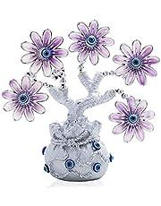 YU FENG Turkse blauwe boze oog roze bloemen geld fortuin boom met gelukszak vaas bescherming geluk geschenk