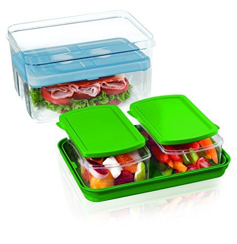 (Fit & Fresh Lunch on the Go Set with Ice Pack, 3 Reusable Portion Control Containers, BPA-Free, Microwave/Dishwasher Safe Lunch Box)