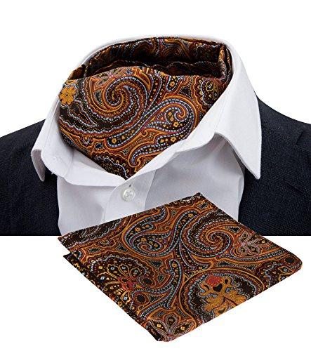 LJA10 New Orange Gold Wedding Prom Men Ascot Cravat Hanky Handkerchief Tie Set