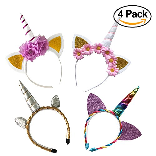 4 Pack - Original Unicorn Horn Headband, Different Super Cute Designs, Light and Quality Materials, Vibrant Colors, Perfect for Party Decorations or Cosplay (Unique Group Costumes Ideas)