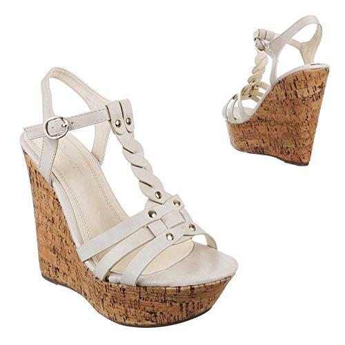King Shoes Compensées Of Femme Beige Chaussures 44fTrq