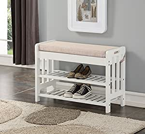 black wood entryway benches with shoe storages | Amazon.com: White Finish Solid Pine Wood Storage Shoe ...