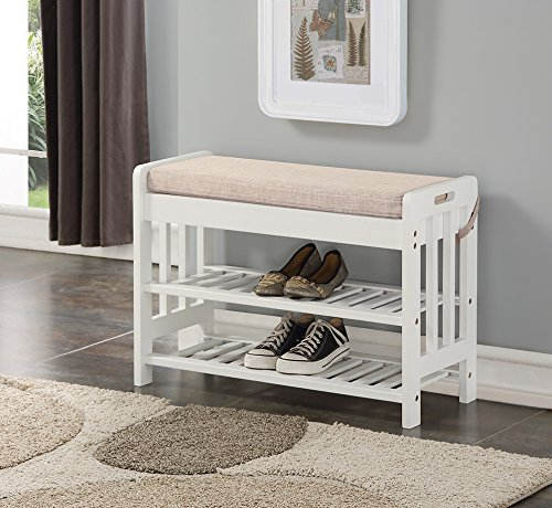 White Finish Solid Pine Wood Storage Shoe Fabric Bench Shelf Rack Entryway Bathroom