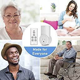 Etekcity Wireless Remote Control Electrical Outlet Switch for Household Appliances, White (Fixed Code, 1Rx-1Tx)