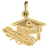 18K Yellow Gold Graduation Cap, Hat, And Diploma Pendant - 15 mm