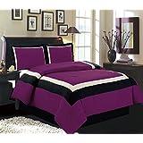 "4 Piece (California) CAL KING Size DARK PURPLE / BLACK / WHITE Color Block MILAN Goose Down Alternative Comforter set 104"" X 90"" Bedding"
