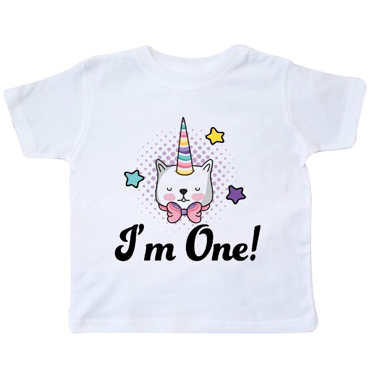 inktastic First Birthday Unicorn Cat 1 Year Old Toddler T-Shirt