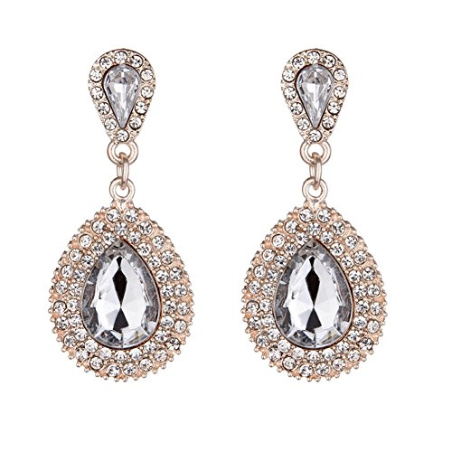 (OMTBEL STOOLY Women Pear Shape Crystal Earrings Dangle Teardrop Rhinestone Earring)