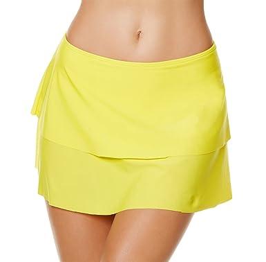 código promocional ed7bd c411f YoungSoul Trajes de baño con Falda incorporada - Shorts de baño de Playa -  Falda de Bikini con Volantes a Capas para Mujer