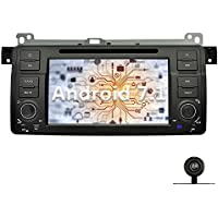 YINUO 7 inch Android 7.1.1 Nougat Quad Core Car Stereo 1 Din HD 1024 Touch Screen Car Radio Receiver DVD GPS Navigation for BMW 3 Series E46 Free Mic 8GB Map Card