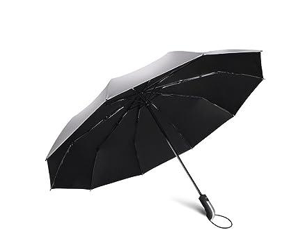 Paraguas de tres pliegues, paraguas totalmente automático paraguas grande refuerzo de doble viento a prueba