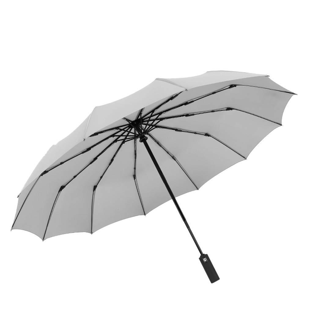 Ugood Rain Umbrella Large Umbrella Men/Women Three Folding Anti-UV Windproof Rain Umbrella Dress (White)