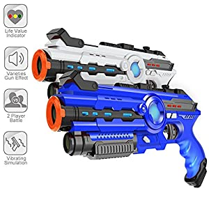 Infrared Laser Tag- Laser Gun Set Boys Toy Christmas Gift 2-Pack Infrared Battle Shooting Games Lazer Tag Blasters Indoor & Outdoor Group Activity Two Player Laser Gaming Set Lazer Tag Blasters