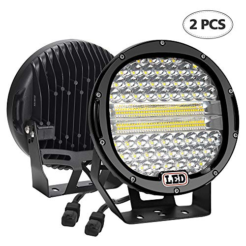 (LED Light Bar,2PCS BEAMCORN 9 inch 384W Flood Spot Combo Led Round Driving Lights Headlamp Headlight Off Road Lights for Jeep Wrangler Truck SUV Tractor Trailer ATV 4X4 Black)