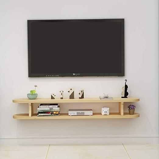 SjYsXm-Floating shelf Estante De Madera Gabinete de TV Montado en la Pared Soporte TV Estante de Set-Top Box Consola de TV Flotante Casilleros (Color : A, Tamaño : 100CM): Amazon.es: Hogar