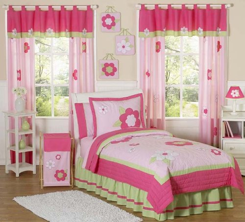 Sweet Jojo Designs Pink and Green Flower Collection Queen Bed Skirt