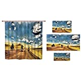 iPrint Bathroom 4 Piece Set Shower Curtain Floor mat Bath Towel 3D Print,Band on Motorcycles in Countryside Rural Adventure,Fashion Personality Customization adds Color to Your Bathroom.