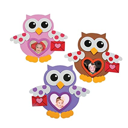 Amazon.com: 12 ~ Foam Valentine Owl Picture Frame Magnet Craft Kits ...