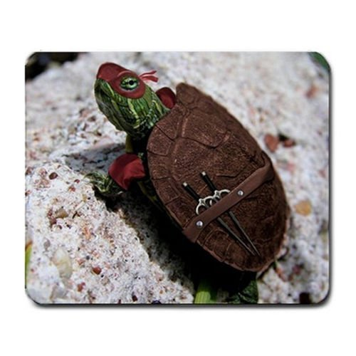 Cute Real Life Ninja Turtle Humor Mouse Pad