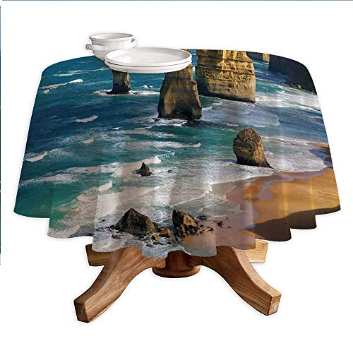 """Coastal Decor Round Polyester Tablecloth,12 Apostles in Australia Rock Face Lookout by The Sea Sightseeing Panoramic Picture,Dining Room Kitchen Round Table Cover,55"""" Tablecloth"""