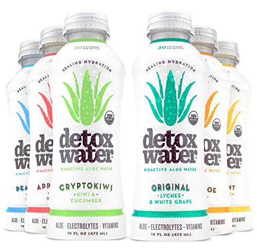 Detoxwater Prebiotic Aloe Water  Sampler Pack Lychee White Grape Mango Pineapple Mint Peach Blueberry Apple Raspberry Cucumber Kiwi 16 Fluid Ounces Pack of 6
