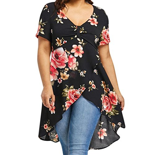 iDWZA Womens Casual Plus Size Loose Floral Print V-Neck Long T-Shirt Tops Blouses (Black, (Tactical High Visibility Reversible Jacket)