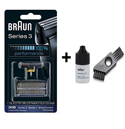(Braun Series 3 Combi 30b Foil And Cutter Replacement Pack with 7 ML Braun Cleaning oil and Braun Cleaning Brush)