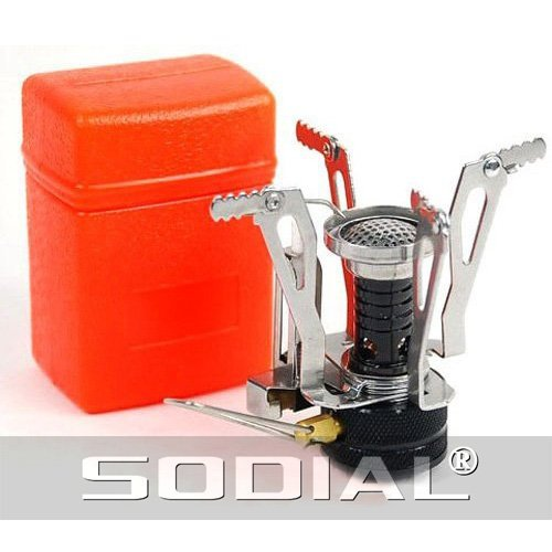 SODIAL(R) Ultralight Backpacking Canister Camp Stove with Piezo Ignition 3.9oz