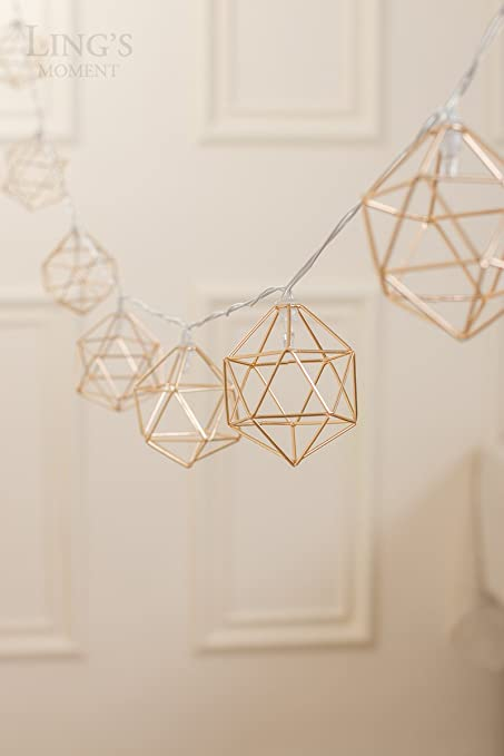 2ac94725c384 Ling s moment Gold Geometric Metal LED String Lights AA Battery Powered  5.2FT 10 LEDs String