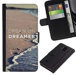LASTONE PHONE CASE / Lujo Billetera de Cuero Caso del tirón Titular de la tarjeta Flip Carcasa Funda para Samsung Galaxy Note 4 SM-N910 / dream on dreamer sand beach ocean
