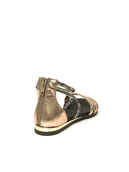 DV1623 in Oro Pelle Sandali Glitter Nero Divine Follie Eleganti Oro qIR66t