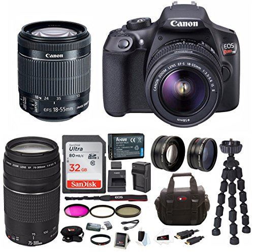 Canon EOS Rebel T6 Digital Camera: 18 Megapixel 1080p HD Video DSLR Bundle With 18-55mm & 75-300mm Lens 32GB SD Card Tripod Filter Kit Bag & Charger – Professional Vlogging Sports and Action Camera