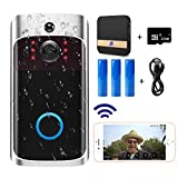 Video Doorbell Camera (Upgraded) with Ring Chime (All in One),Wi-Fi with PIR Motion Detection,Waterproof,Wide Angle,Night Vision,Real-Time Notification,Two-Way Talk,32GB SD Card,3 Batteries, USB Cable