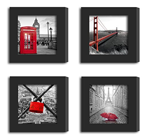 4Pcs 4x4 Real Glass Wood Frame Black Fit Family Image Pictures Photo (Window 3.6 x 3.6 inch ) Desktop Stand or Wall Hang Family Combine Square London Red City Golden Gate Bridge Decoration (1-4) (Bridge Picture London)