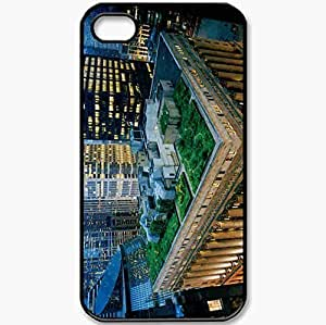Protective Case Back Cover For iPhone 4 4S Case Architecture Roof Terrace Garden Skyscrapers Evening Black