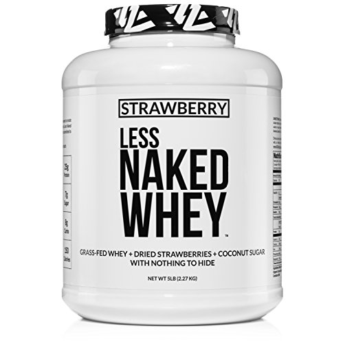 Strawberry Whey Protein - All Natural Grass Fed Whey Protein Powder + Dried Strawberries + Coconut Sugar- 5lb Bulk, GMO-Free, Soy Free, Gluten Free. Aid Muscle Growth & Recovery - 61 Servings - 100% Whey Natural Strawberry