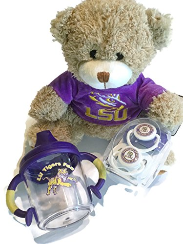 (LSU Tigers Baby No-Spill Sippy Cup BPA-Free LSU Hoodie Plush Bear 2 LSU Pacifiers Non-Toxic NCAA)
